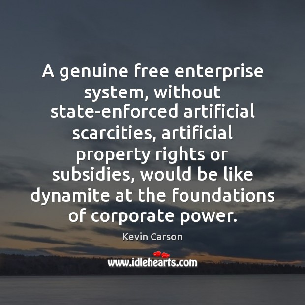 A genuine free enterprise system, without state-enforced artificial scarcities, artificial property rights Image