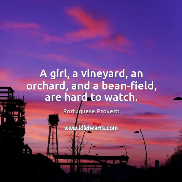 Image, A girl, a vineyard, an orchard, and a bean-field, are hard to watch.