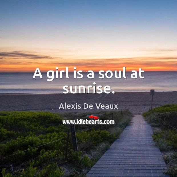Image, A girl is a soul at sunrise.