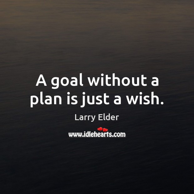 A goal without a plan is just a wish. Image