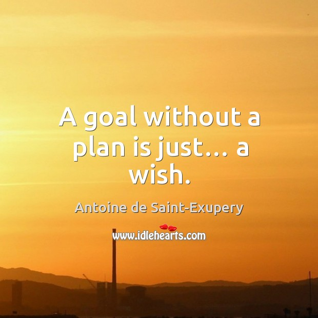 A goal without a plan is just… a wish. Image