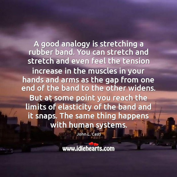A good analogy is stretching a rubber band. You can stretch and John L. Casti Picture Quote