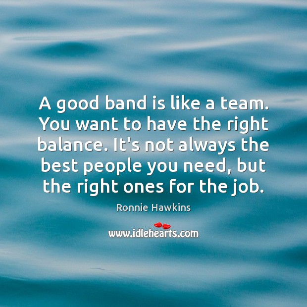 A good band is like a team. You want to have the Image