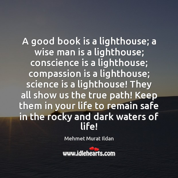 Image, A good book is a lighthouse; a wise man is a lighthouse;