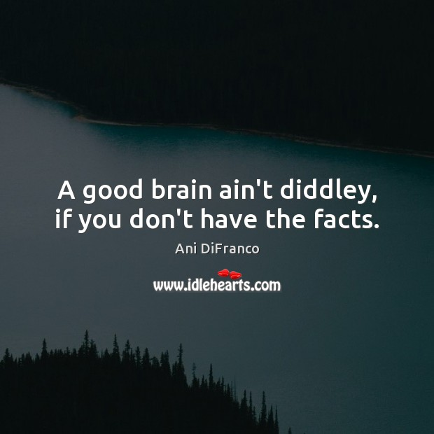 A good brain ain't diddley, if you don't have the facts. Ani DiFranco Picture Quote