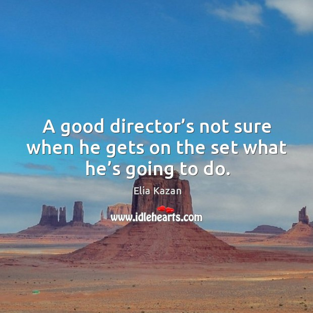A good director's not sure when he gets on the set what he's going to do. Elia Kazan Picture Quote