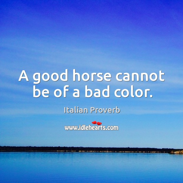 Image, A good horse cannot be of a bad color.