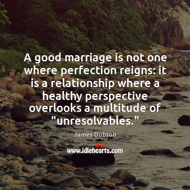 A good marriage is not one where perfection reigns: it is a James Dobson Picture Quote