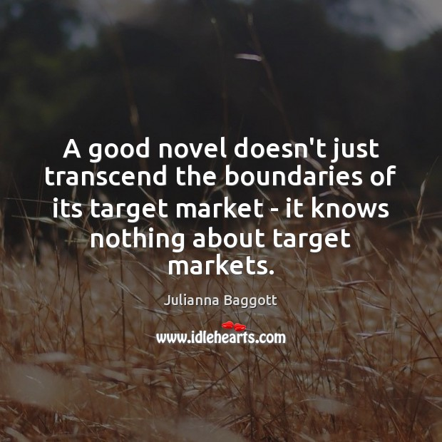 A good novel doesn't just transcend the boundaries of its target market Julianna Baggott Picture Quote
