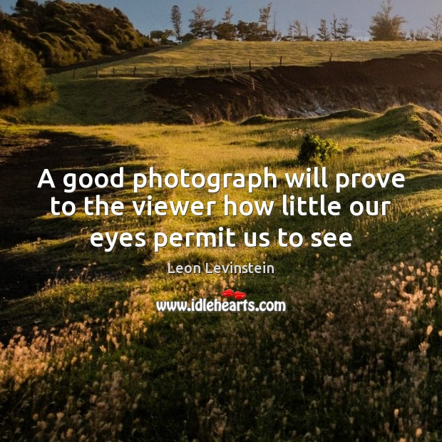 A good photograph will prove to the viewer how little our eyes permit us to see Image