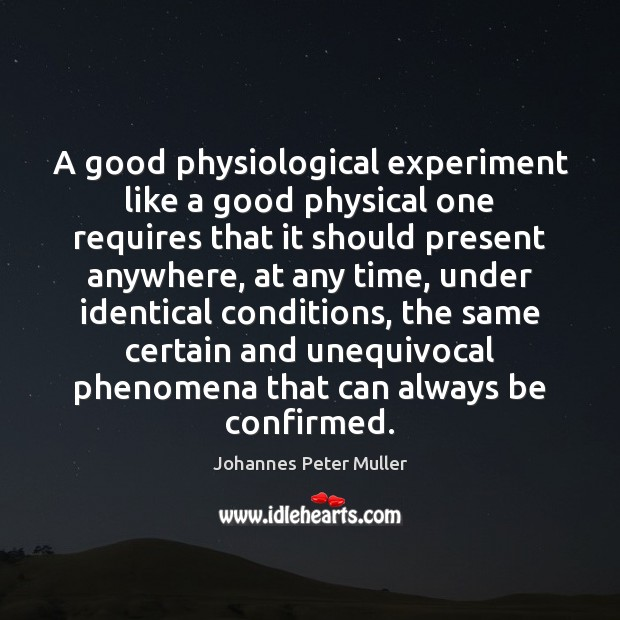 A good physiological experiment like a good physical one requires that it Image
