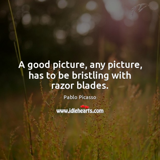 Image, A good picture, any picture, has to be bristling with razor blades.