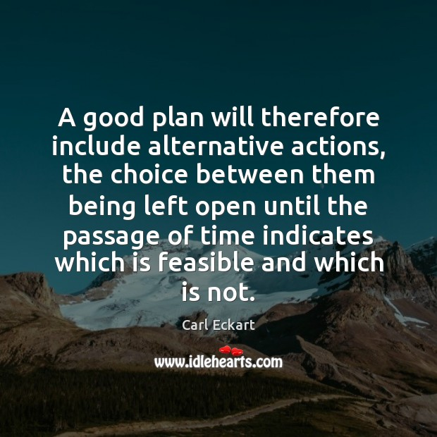 Image, A good plan will therefore include alternative actions, the choice between them