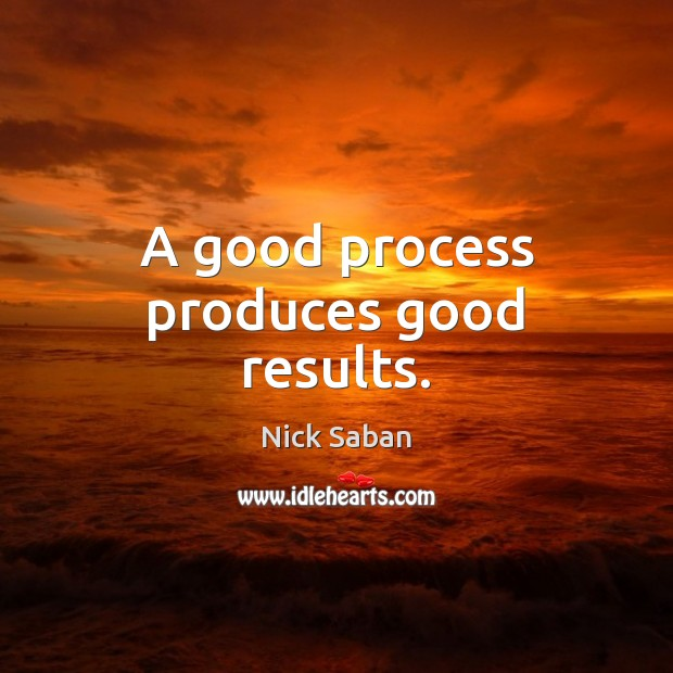 Nick Saban Picture Quote image saying: A good process produces good results.