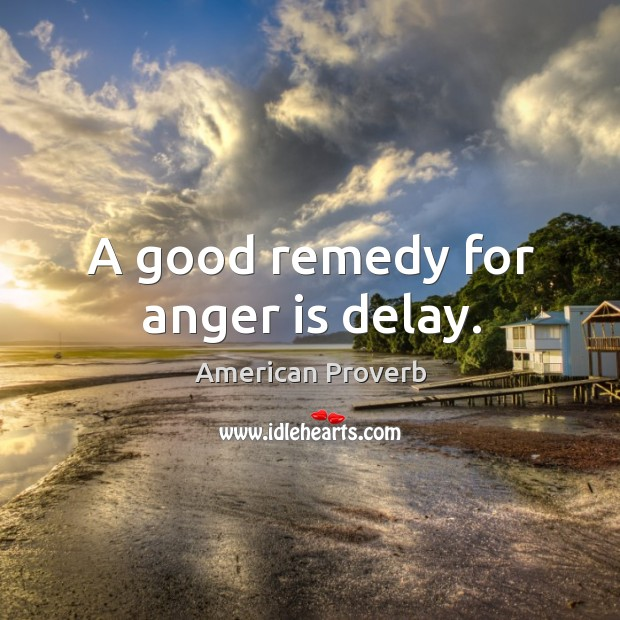 A good remedy for anger is delay. Image