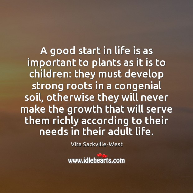 A good start in life is as important to plants as it Vita Sackville-West Picture Quote