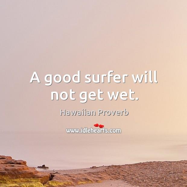 A good surfer will not get wet. Hawaiian Proverbs Image