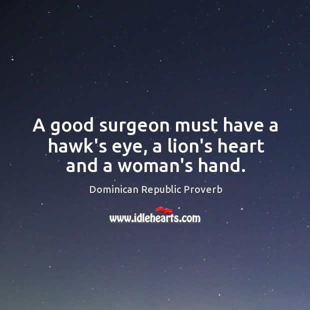Image, A good surgeon must have a hawk's eye, a lion's heart and a woman's hand.