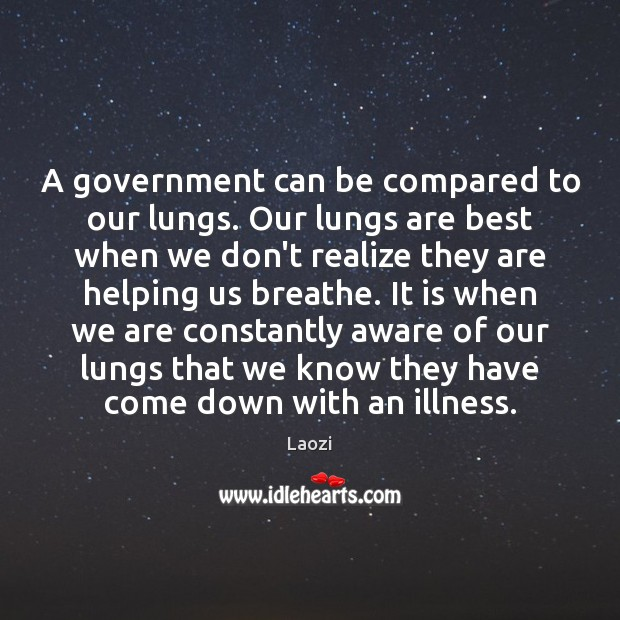 Image, A government can be compared to our lungs. Our lungs are best