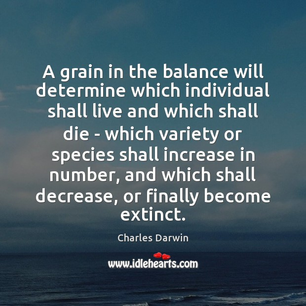 A grain in the balance will determine which individual shall live and Image