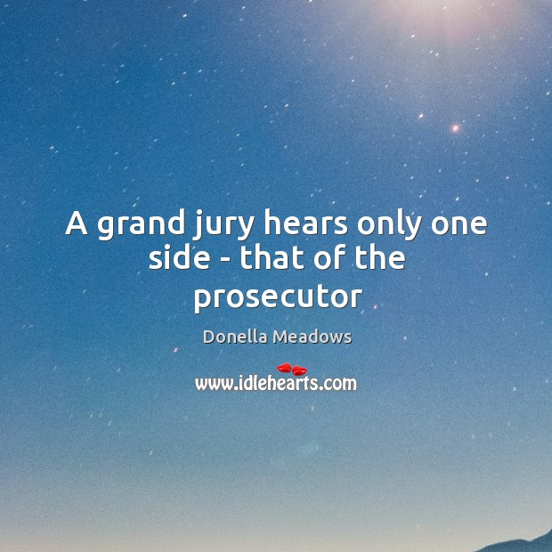 A grand jury hears only one side – that of the prosecutor Donella Meadows Picture Quote
