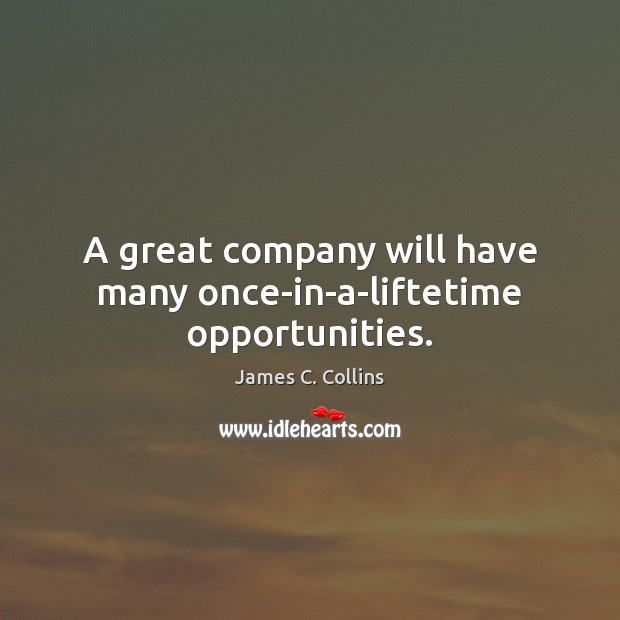 A great company will have many once-in-a-liftetime opportunities. James C. Collins Picture Quote