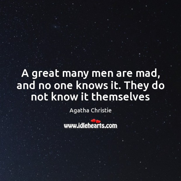 Image, A great many men are mad, and no one knows it. They do not know it themselves