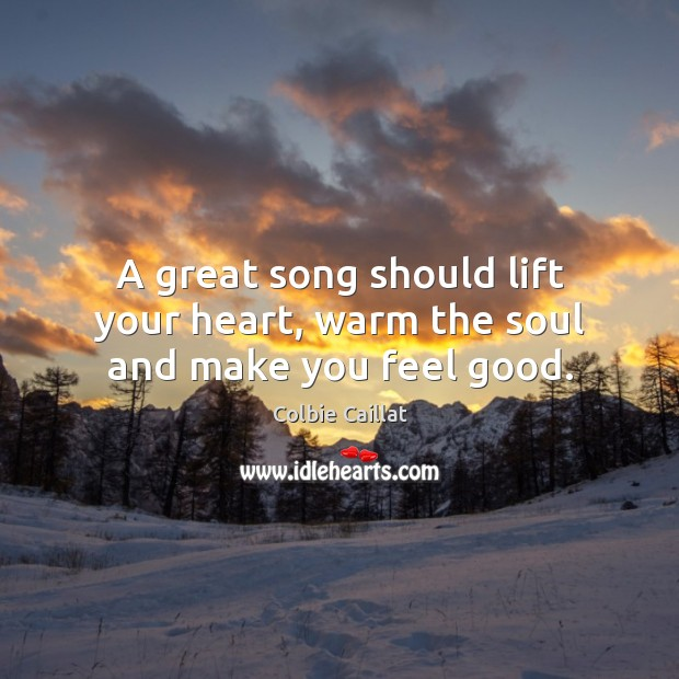 A great song should lift your heart, warm the soul and make you feel good. Colbie Caillat Picture Quote