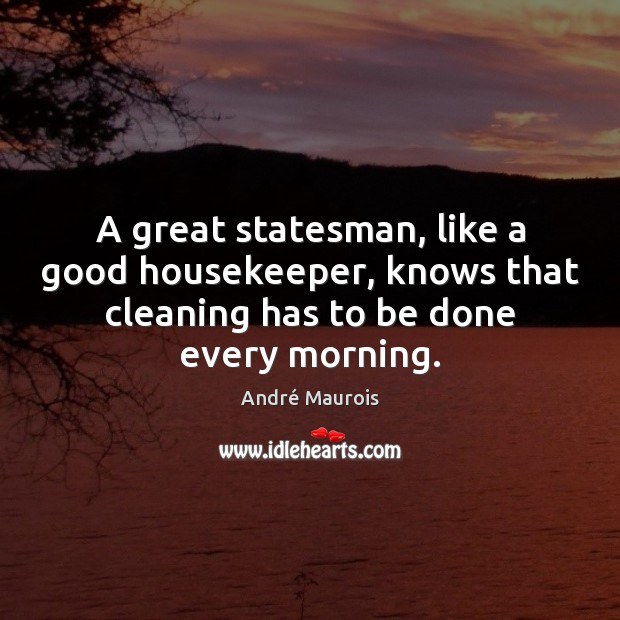 A great statesman, like a good housekeeper, knows that cleaning has to Image