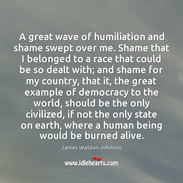 A great wave of humiliation and shame swept over me. Shame that James Weldon Johnson Picture Quote