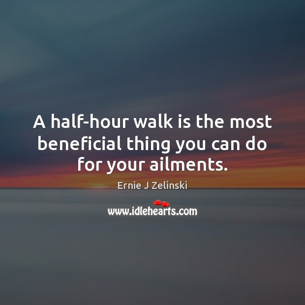 A half-hour walk is the most beneficial thing you can do for your ailments. Ernie J Zelinski Picture Quote