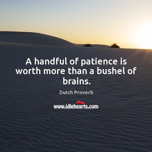 A handful of patience is worth more than a bushel of brains. Image