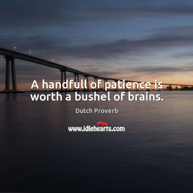 Image, A handfull of patience is worth a bushel of brains.