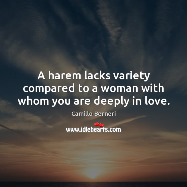 Image, A harem lacks variety compared to a woman with whom you are deeply in love.