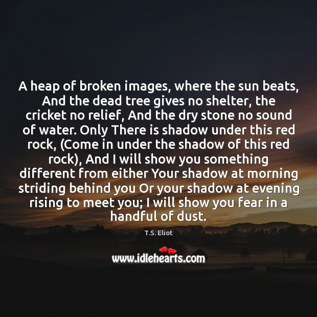 Image, A heap of broken images, where the sun beats, And the dead