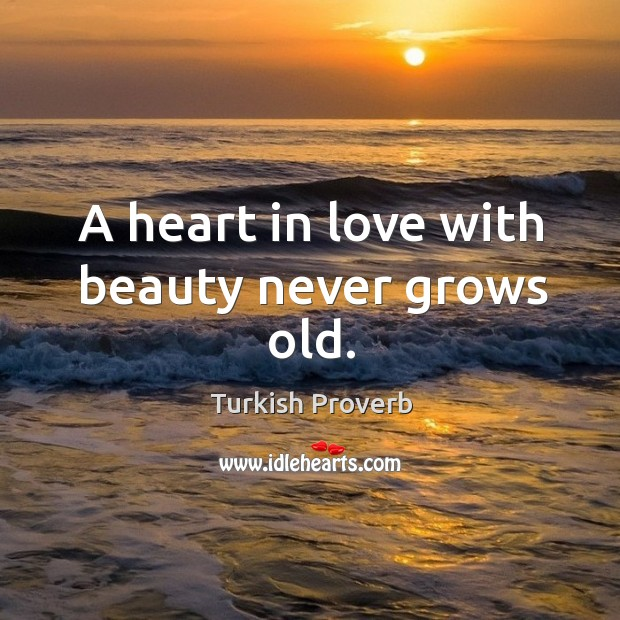 A heart in love with beauty never grows old. Turkish Proverbs Image