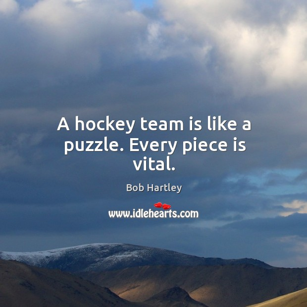 Image, A hockey team is like a puzzle. Every piece is vital.