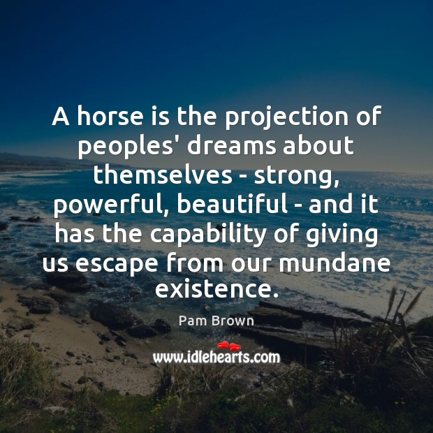 Image, A horse is the projection of peoples' dreams about themselves – strong,
