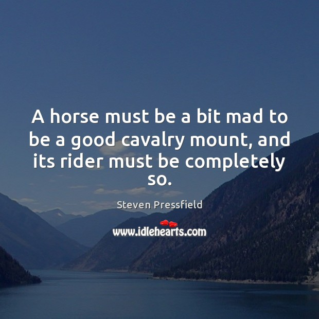 A horse must be a bit mad to be a good cavalry mount, and its rider must be completely so. Steven Pressfield Picture Quote