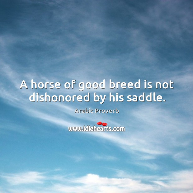 Image, A horse of good breed is not dishonored by his saddle.