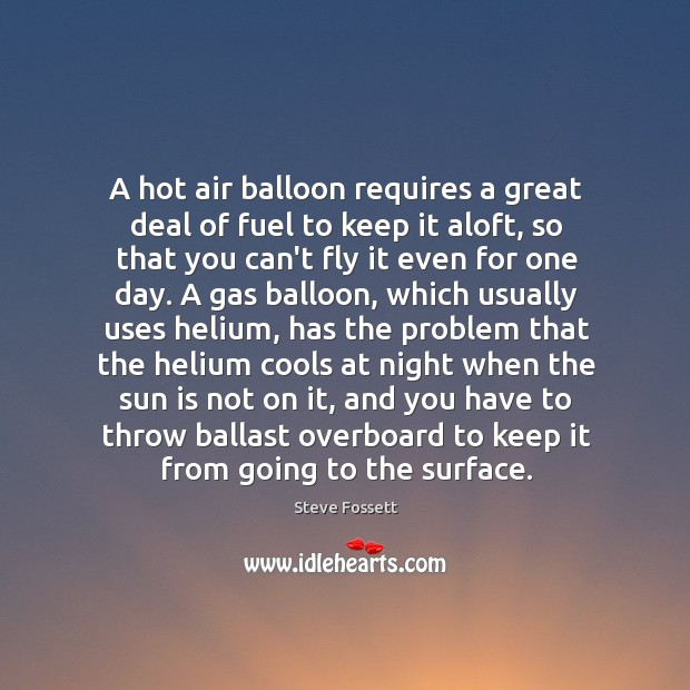 Image, A hot air balloon requires a great deal of fuel to keep