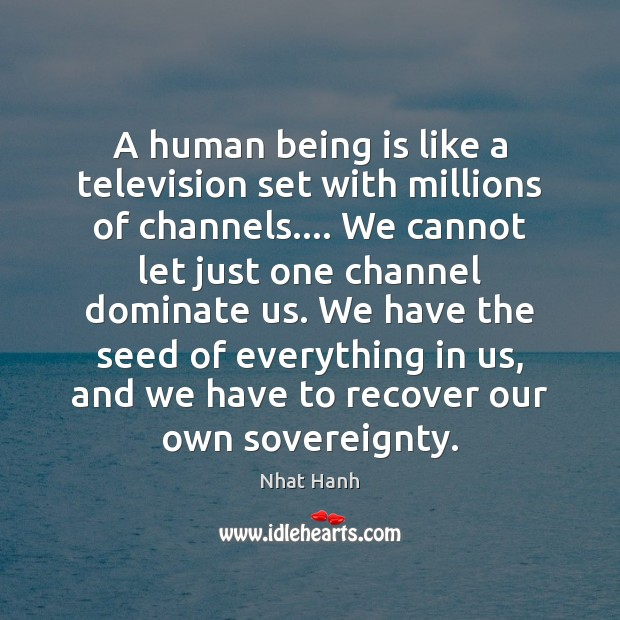 Image, A human being is like a television set with millions of channels….