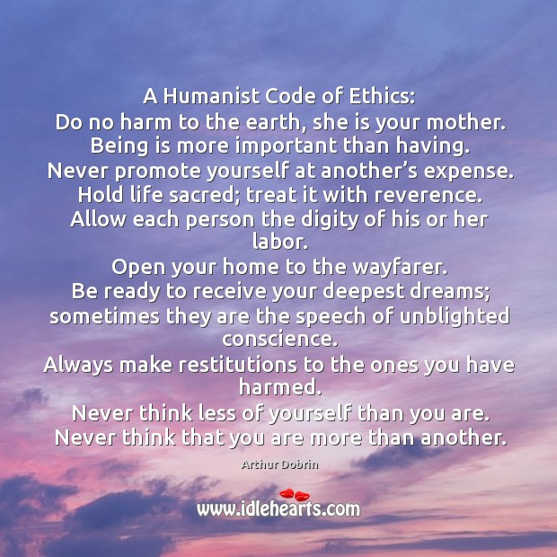 Image, A humanist code of ethics: