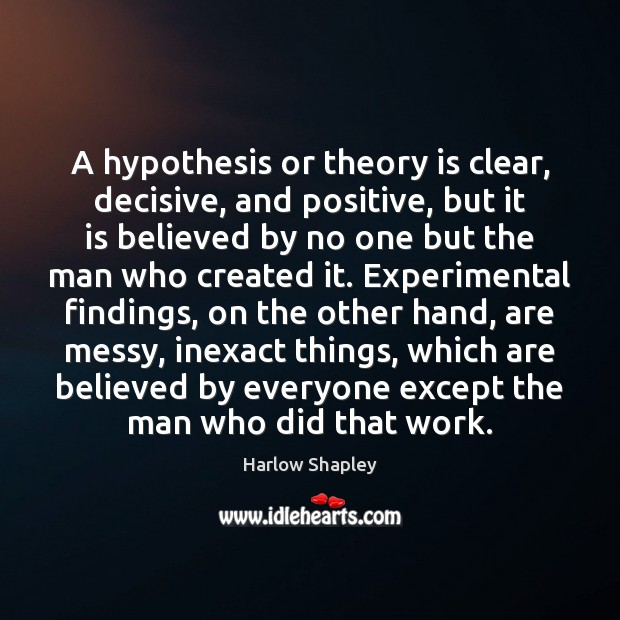 A hypothesis or theory is clear, decisive, and positive, but it is Image