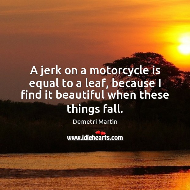 A jerk on a motorcycle is equal to a leaf, because I Demetri Martin Picture Quote