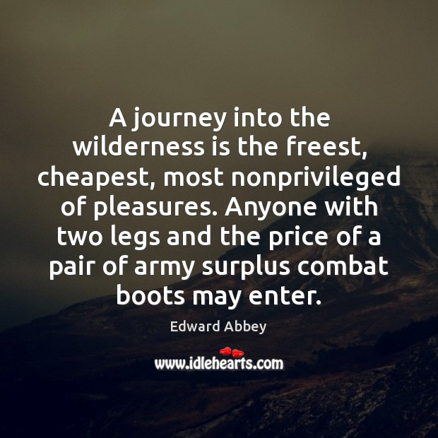 A journey into the wilderness is the freest, cheapest, most nonprivileged of Edward Abbey Picture Quote