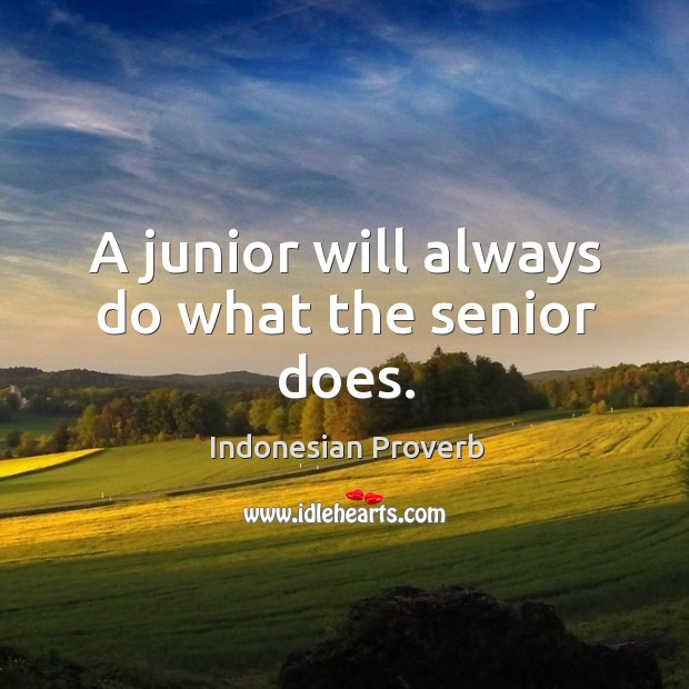 A junior will always do what the senior does. Indonesian Proverbs Image