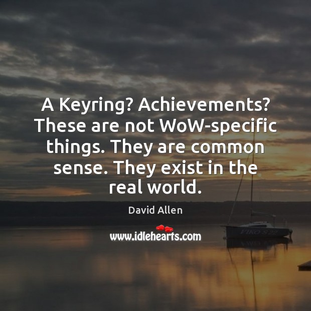 A Keyring? Achievements? These are not WoW-specific things. They are common sense. David Allen Picture Quote