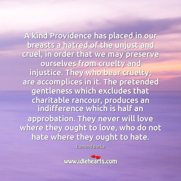 A kind Providence has placed in our breasts a hatred of the Edmund Burke Picture Quote