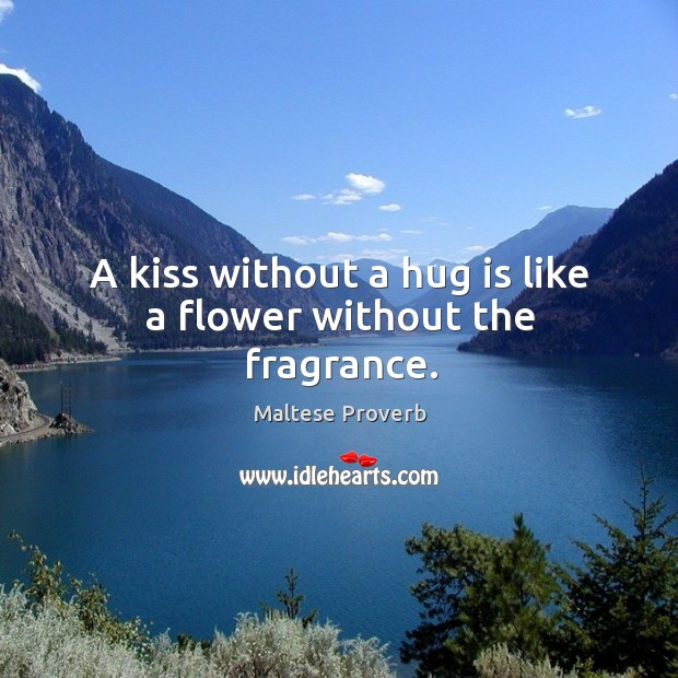 A kiss without a hug is like a flower without the fragrance. Maltese Proverbs Image
